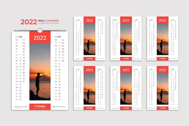 Calendário de parede 2022 planejador anual com todos os meses da escola e cronograma da empresa