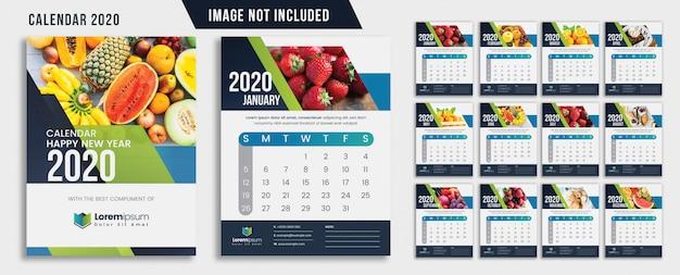 Calendário de parede abstrato verde 2020
