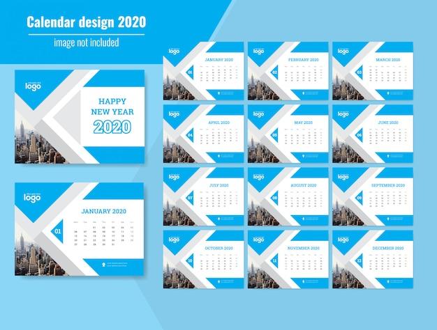 Calendário de parede de ano novo 2020
