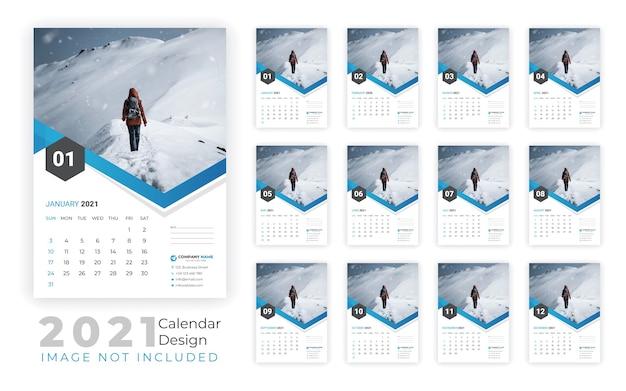 Calendário de parede de ano novo 2021