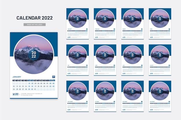 Calendário de parede de ano novo 2022