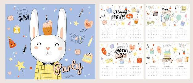Calendário de parede de feliz aniversário. o planejador anual tem todos os meses. bom organizador e cronograma.