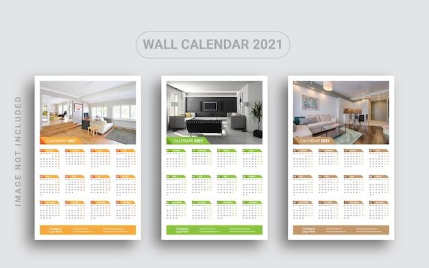 Calendário de parede de uma página 2021