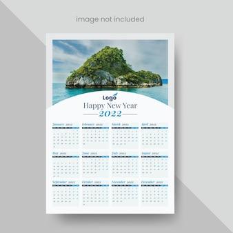 Calendário de parede de uma página 2022 com elementos de design criativo