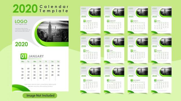 Calendário de parede do ano novo 2020 da cor verde