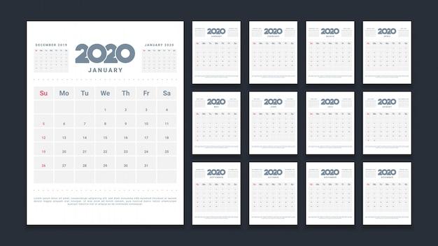 Calendário de parede limpo 2020