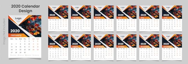 Calendário de parede moderno 2020