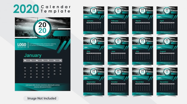 Calendário de parede moderno criativo ano novo 2020