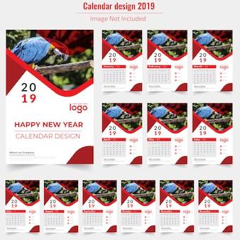 Calendário de parede vermelho 2019