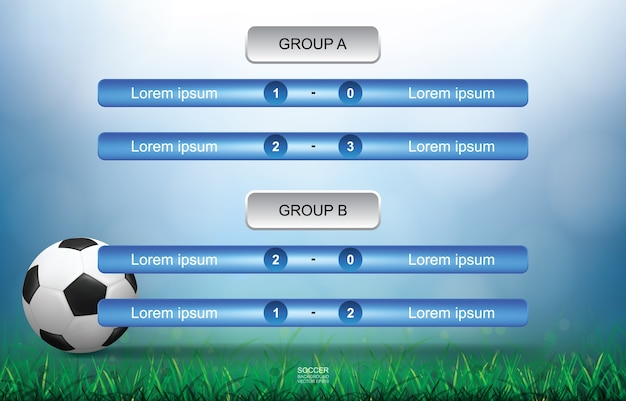 Calendário de partidas para o esporte de futebol.