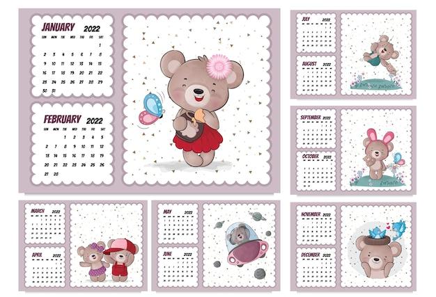 Calendário de personagens de animais fofos para 2022 calendário de ilustração 2022