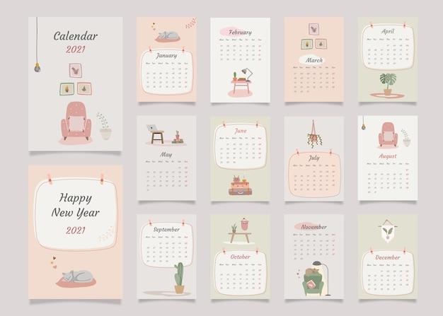 Calendário de planejador anual de decoração de casa com todos os meses