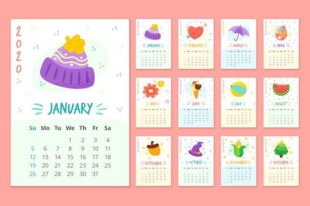 Calendário de programação mensal colorido