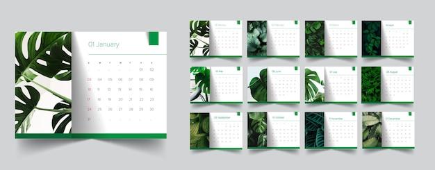Calendário de projeto de planta verde tropical
