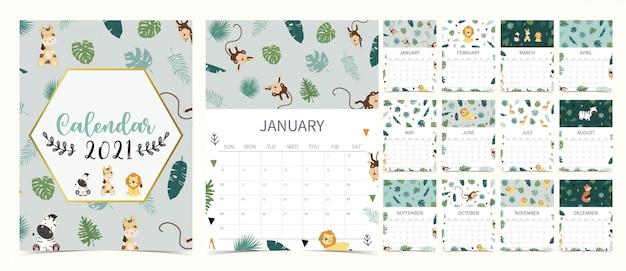 Calendário de safari bonito 2021 com leão, girafa, zebra, raposa, macaco