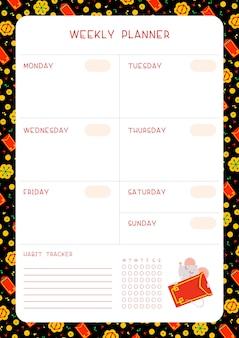 Calendário de semana e rastreador de hábito com modelo de vetor plana de rato.