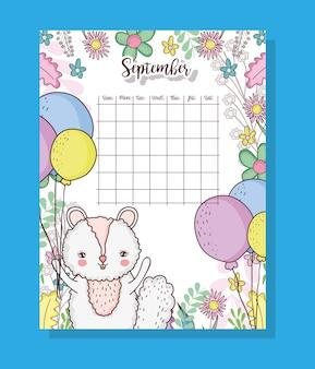 Calendário de setembro com animal bonito esquilo