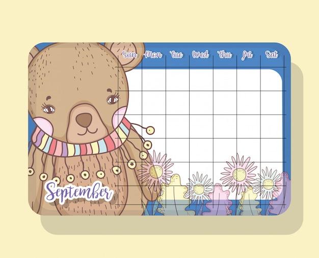 Calendário de setembro com urso bonito animal