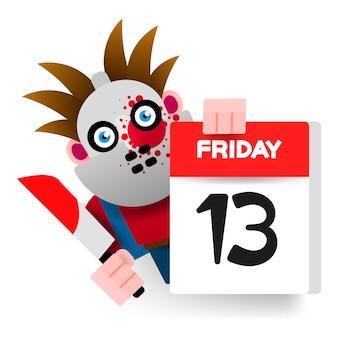 Calendário de sexta-feira 13 com caráter assustador