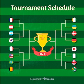 Calendário de torneio colorido com design plano