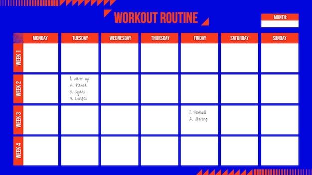 Calendário de treino eométrico duotônico