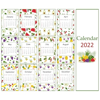 Calendário de verão de frutas para 2022 de padrões de frutas para veganos, ilustração vetorial de cor.