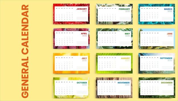 Calendário de verão frio e colorido criativo