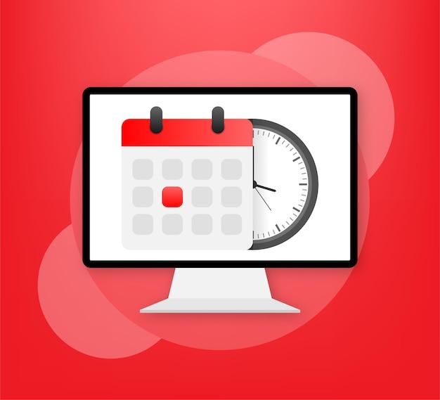 Calendário de vetor e ícone de relógio no vermelho