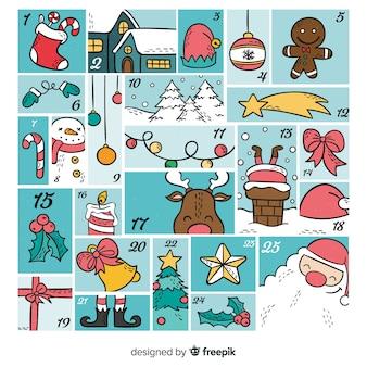 Calendário decorativo do advento do natal