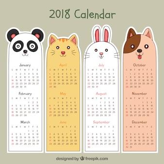 Calendário desenhado a mão 2018