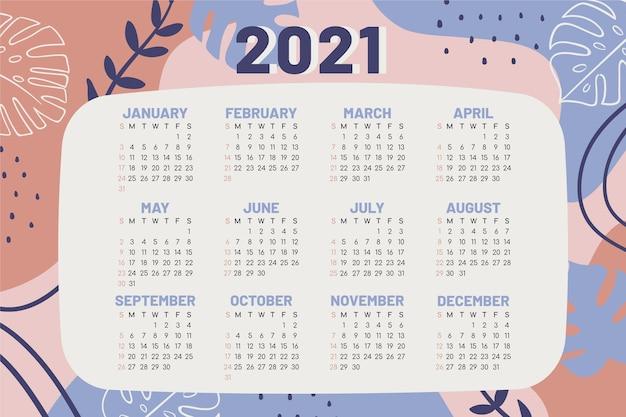 Calendário desenhado à mão para o ano novo de 2021