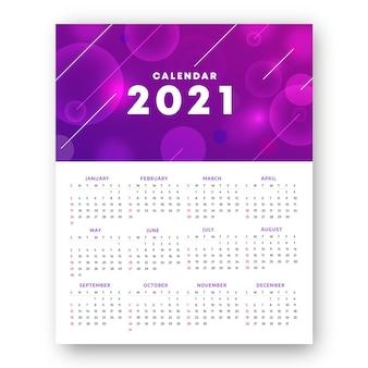 Calendário desfocado do ano novo de 2021
