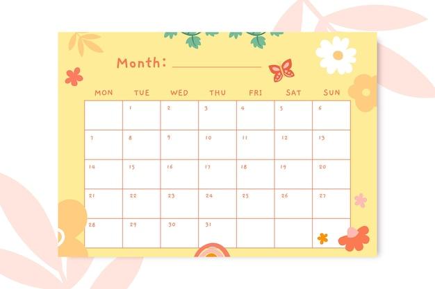 Calendário diário de primavera floral fofo