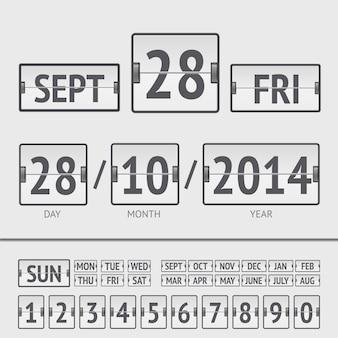 Calendário digital de placar branco com data e hora da semana