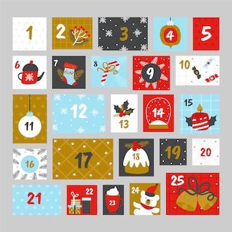 Calendário do advento colorido em design plano