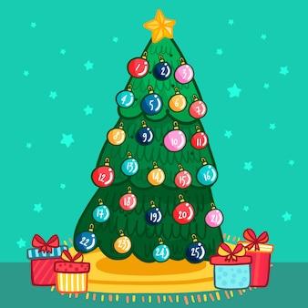Calendário do advento com bolas de natal em uma árvore