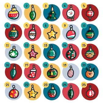 Calendário do advento com bolas de natal