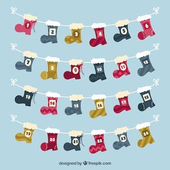 Calendário do advento com botas de natal
