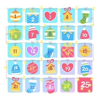 Calendário do advento com elementos natalinos