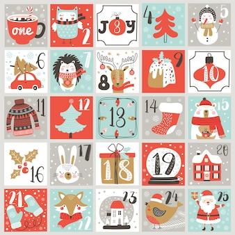 Calendário do advento de natal com elementos desenhados à mão. cartaz de natal.