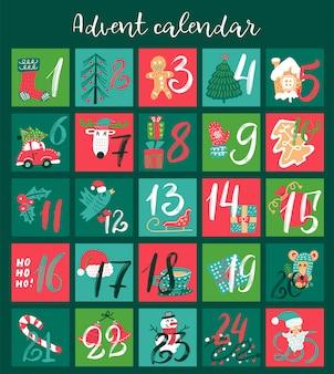 Calendário do advento de natal com ilustrações de mão desenhada para dias de dezembro.