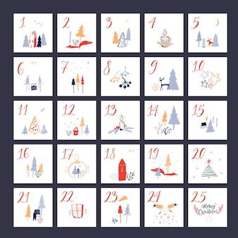 Calendário do advento de natal layout quadrado com números de contagem regressiva desenhados à mão e ilustrações fofas