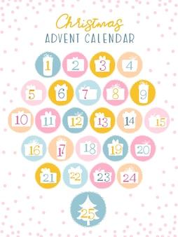 Calendário do advento de natal para crianças. números nas silhuetas de caixas de presente. paleta fofa de doces.