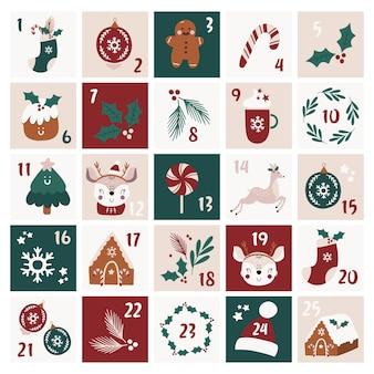 Calendário do advento de natal.