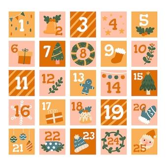 Calendário do advento desenhado à mão