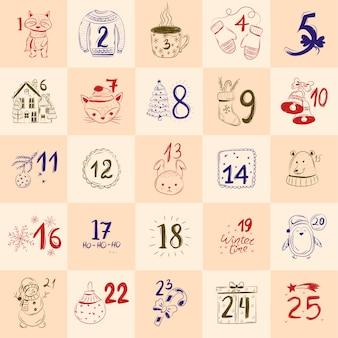 Calendário do advento desenhado de mão