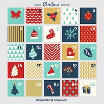 Calendário do advento do vintage com elementos do natal do vintage