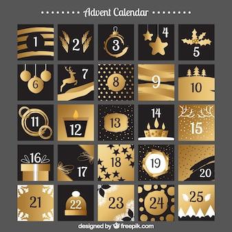 Calendário do advento em cores pretas e douradas