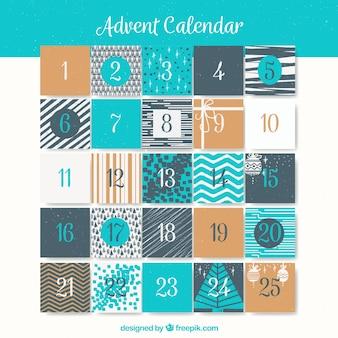 Calendário do advento em tons cinza e turquesa