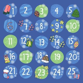 Calendário do advento festivo mão desenhada